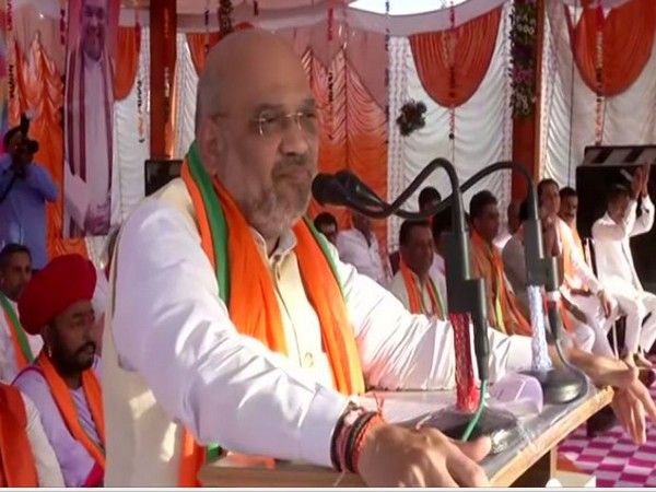 BJP president Amit Shah addressing an election rally at Jalore, Rajasthan, on Friday. Photo/ANI