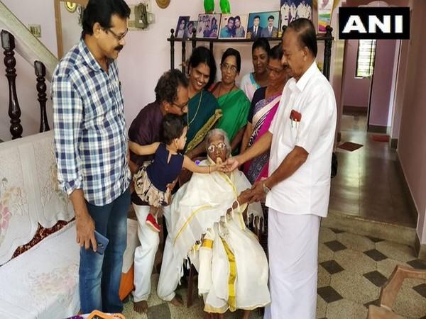 105-year-old Bageerathi Amma in Thiruvananthapuram in Kerala. Photo/ANI