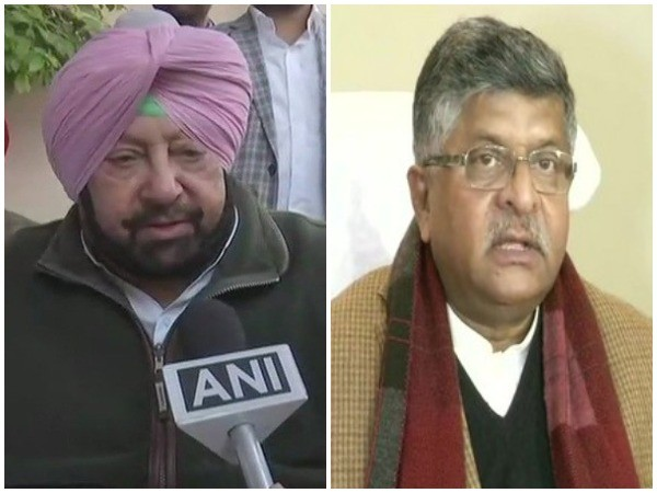 Punjab Chief Minister Captain Amarinder Singh (left) and Union Law and Justice Minister Ravi Shankar Prasad (right)
