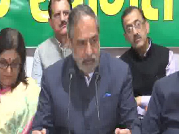 Senior Congress leader Anand Sharma while addressing a press conference in Shimla on Tuesday. Photo/ANI