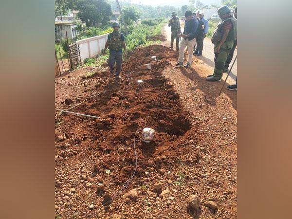 A photograph of the landmine planted by Maoists in Vishakapatnam. Photo/ANI