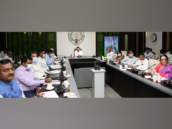 Visual of the meeting chaired by Andhra Pradesh Chief Minister YS Jagan Mohan Reddy (Photo/ANI)