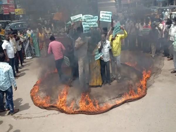 Visual of protest in Nellore (Photo/ANI)