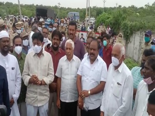 Andhra Pradesh government whip Samineni Udayabhanu stopped by Telangana police. (Photo/ANI)