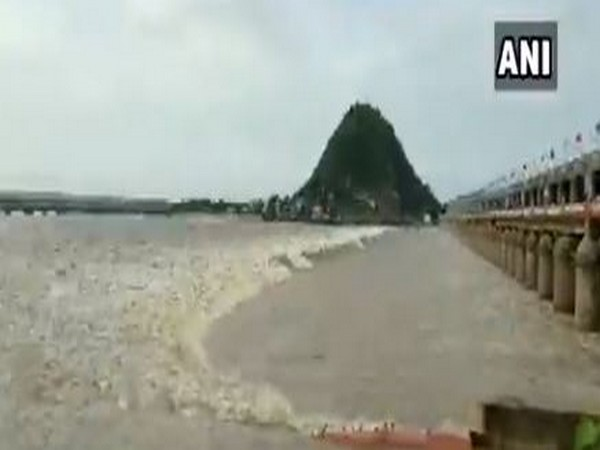 70 gates of Prakasam Barrage on Krishna river lifted to release floodwater in Andhra Pradesh on Tuesday. Photo/ANI