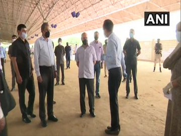 Delhi Lt Governor Anil Baijal inspects Radha Soami Satsang Beas campus for setting up a facility with 10,000 beds for COVID-19 patients. [Photo/ANI]