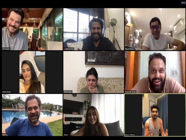 The team of 'Mubarakan' during a video call (Image source: Twitter)