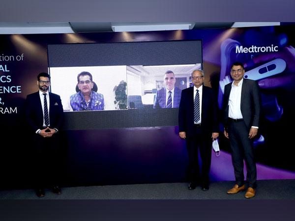 Anshumaan Yadava, Amitabh Kant, Kevin Falzon, Dr. BK Rao & Madan Krishnan inaugurating Medtronic SREC