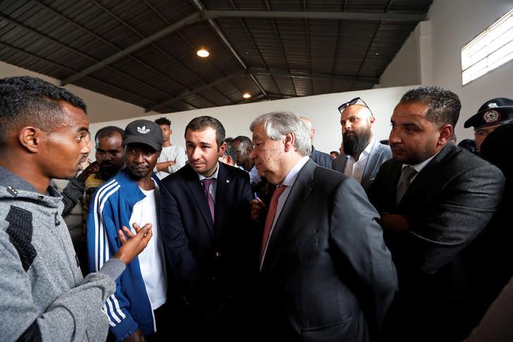 United Nations Secretary-General Antonio Guterres visits a detention centre in Tripoli, Libya
