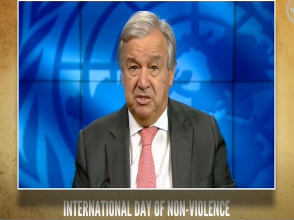 """United Nations Secretary-General Antonio Guterres speaking at the virtual event titled """"Gandhi@150: A non-violent approach to peace and development"""" held on Friday. Photo/ANI"""