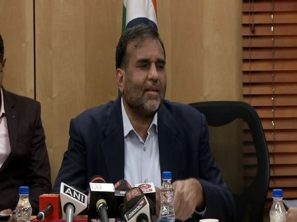 Commerce Secretary Anup Wadhawan speaking to reporters in New Delhi on Tuesday.
