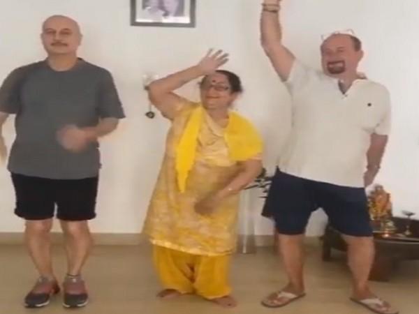Actor Anupam Kher dancing with mother Dulari Kher and brother Raju Kher (Image Source: Instagram)