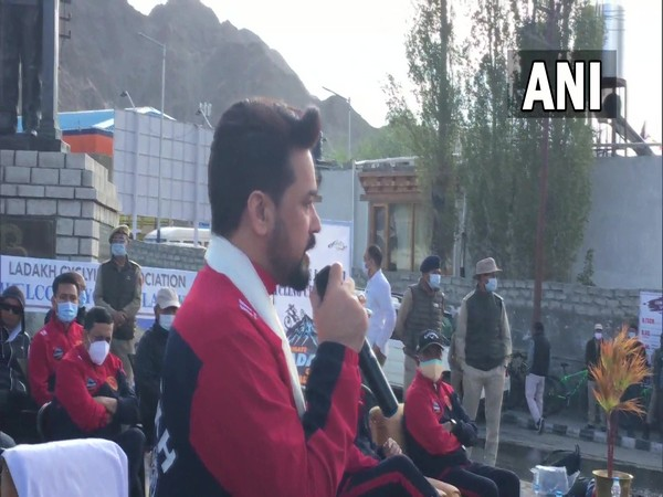 Union Sports Minister Anurag Thakur flagged off cycle rally in Leh (Photo/ANI)