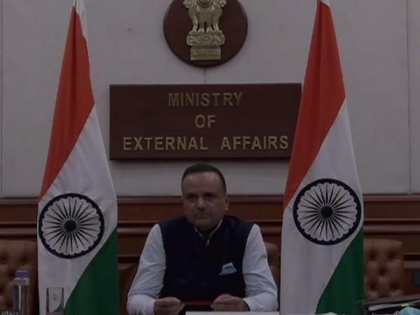 Ministry of External Affairs spokesperson Anurag Srivastava speaking during a video press conference on Thursday. Photo/ANI