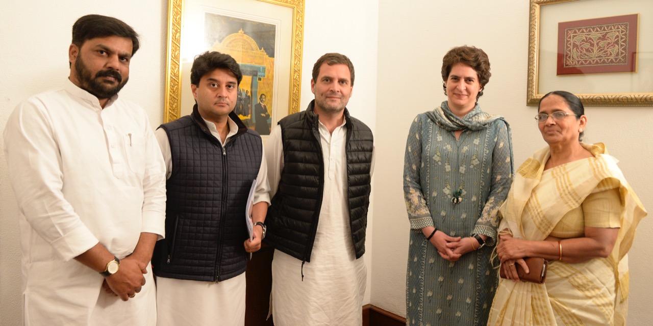 Apna Dal's Krishna Patel faction leaders meet Congress president Rahul Gandhi and leader Priyanka Gandhi in Delhi on Saturday