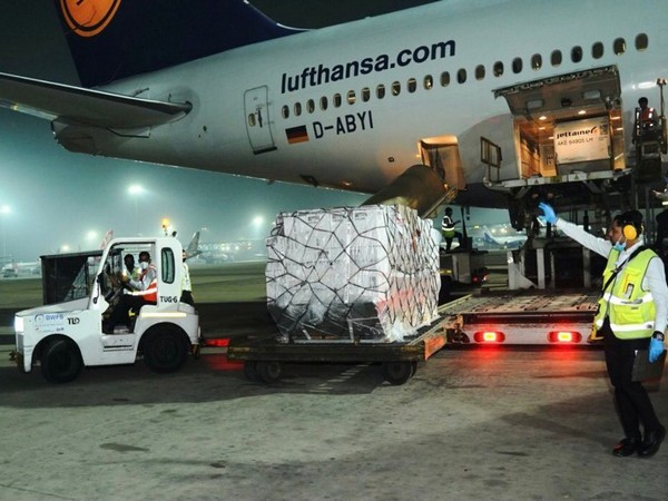Shipment of vital medical supplies from the United Kingdom reaches India on Tuesday (ANI)