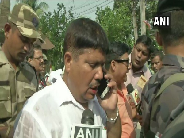 BJP MP candidate Arjun Singh talking to reporters in Barrackpore on Monday. Photo/ANI