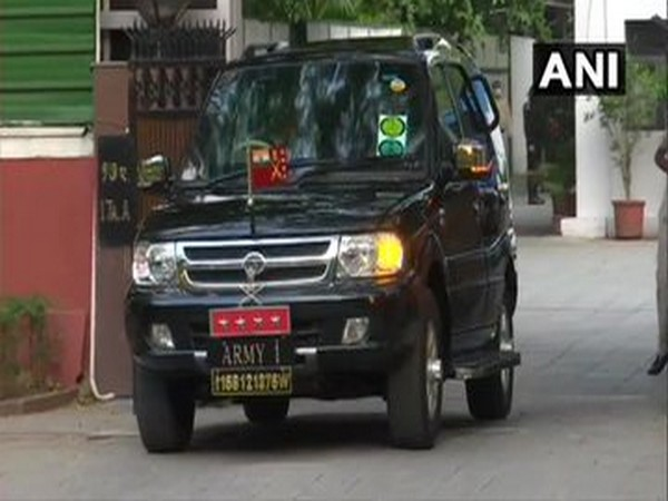Army Chief General MM Naravane leave from the residence of Defence Minister Rajnath Singh.