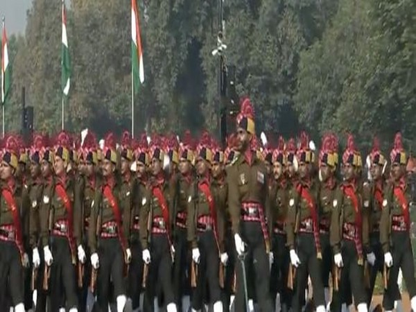 Marching contigent of Corps of Army Air Defence on Rajpath.