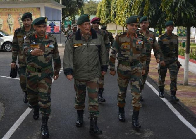 Army Chief, General Bipin Rawat during a visit to forward positions in Samba, Jammu and Kashmir. (Photo/ANI)
