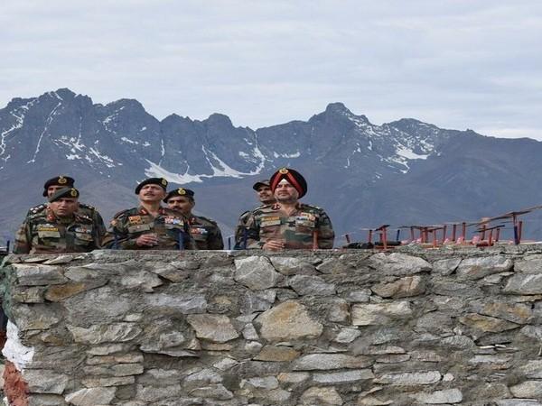 Northern Army Commander Lt Gen Ranbir Singh accompanied by Lt Gen YK Joshi visited forward locations in Ladakh sector on Friday. (Photo tweeted by Northern Army Command)