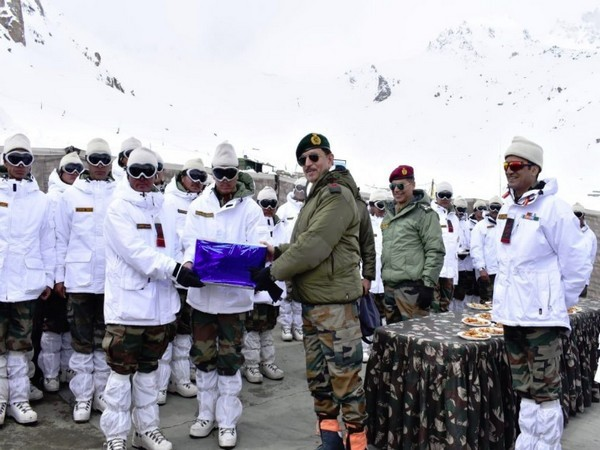 Lieutenant General YK Joshi on Monday while interacting with military brass in Siachen sector. [Photo/ANI]