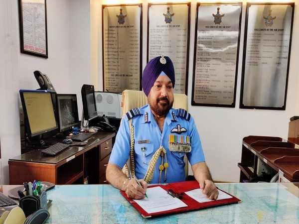 Vice Chief of the IAF, Air Marshal HS Arora at his office in New Delhi on Tuesday. Photo/ANI