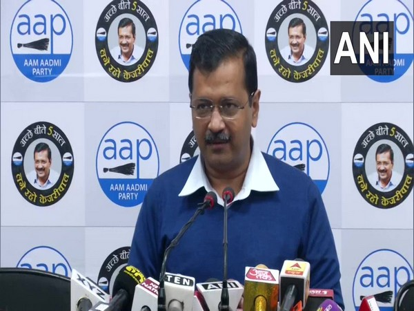 Delhi Chief Minister Arvind Kejriwal speaking at a press conference on Thursday. Photo/ANI
