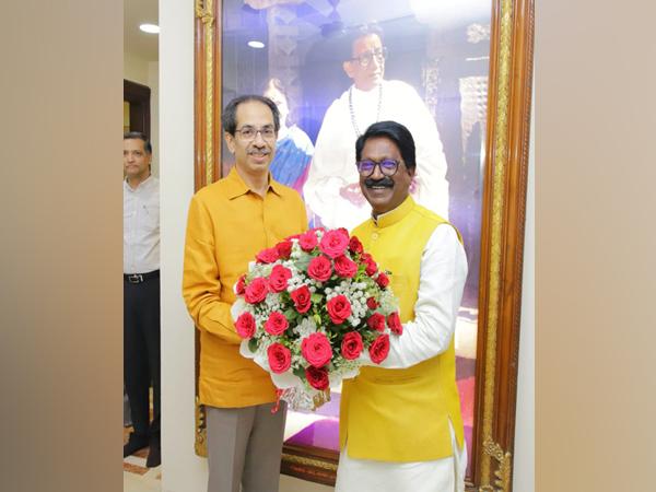 Mahrashtra CM Uddhav Thackeray with Shiv Sena leader Arvind Sawant on Friday. Photo/ANI