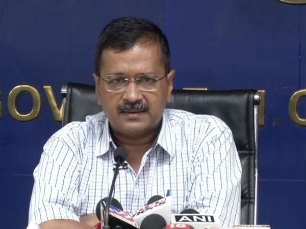Delhi Chief Minister Arvind Kejriwal addressing a press conference on Tuesay. Photo/ANI