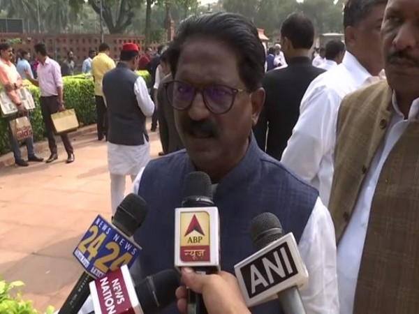 Shiv Sena leader Arvind Sawant speaking to reporters in New Delhi on Tuesday. Photo/ANI