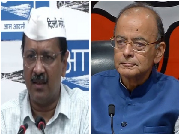 Delhi Chief Minister Arvind Kejriwal (left) and Finance Minister Arun Jaitley (right). (Photo/ANI)