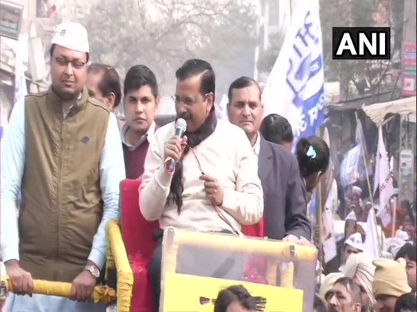 Chief Minister and Aam Aadmi Party (AAP) national convenor Arvind Kejriwal during a roadshow at Kirari.