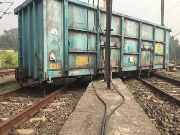 One of the derailed wagons in Asansol on Tuesday.