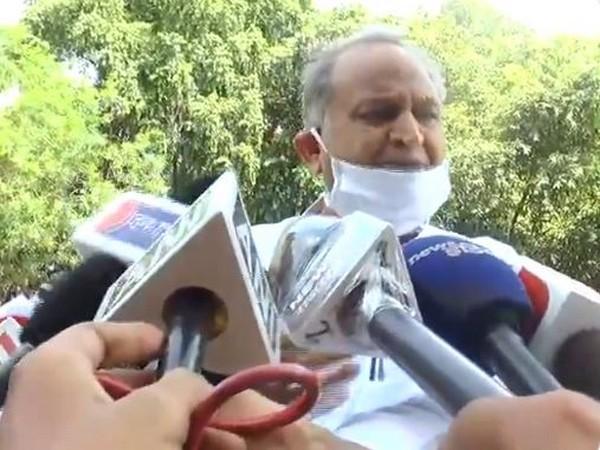 Rajasthan CM Ashok Gehlot talking to reporters on Tuesday. Photo/ANI