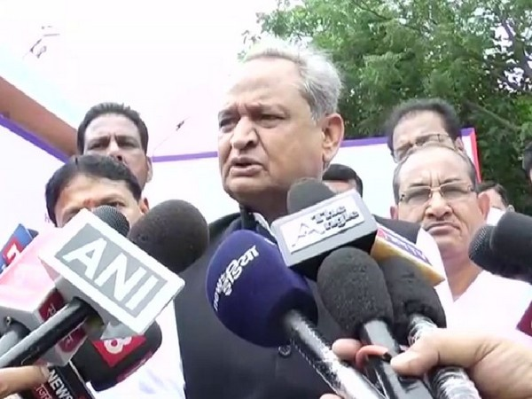 Rajasthan Chief Minister Ashok Gehlot speaking to reporters in Jaipur on Tuesday. Photo/ANI