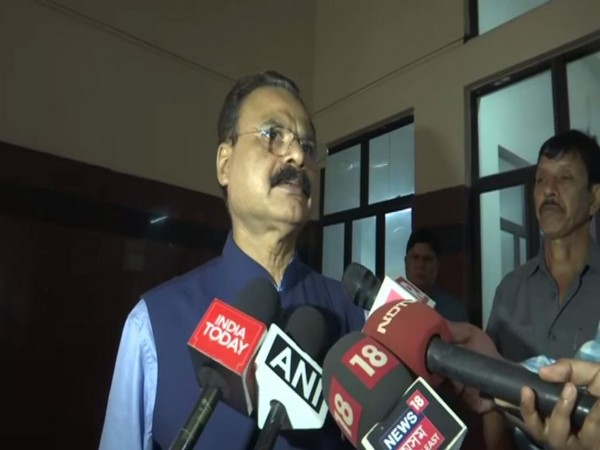 Minister of Industries in the Assam government, Chandra Mohan Patowary talking to reporters in Guwahati. Photo/ANI