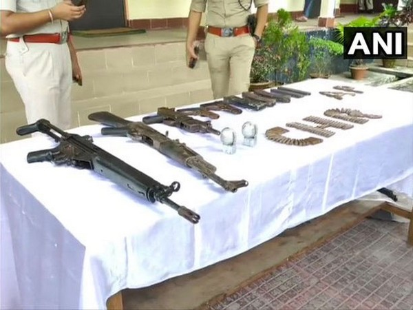 Cache of weapons seized in search operation conducted at Khagrabari village in Chirang district.