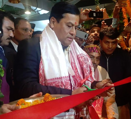 Assam Chief Minister Sarbananda Sonowal on Saturday inaugurated the re-constructed Assam house. [Photo/ANI]