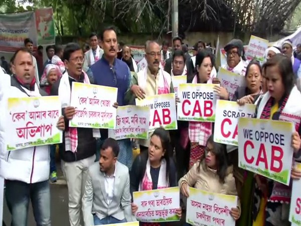 Assam Congress members protesting against the Citizenship (Amendment) Act in Delhi on Friday.