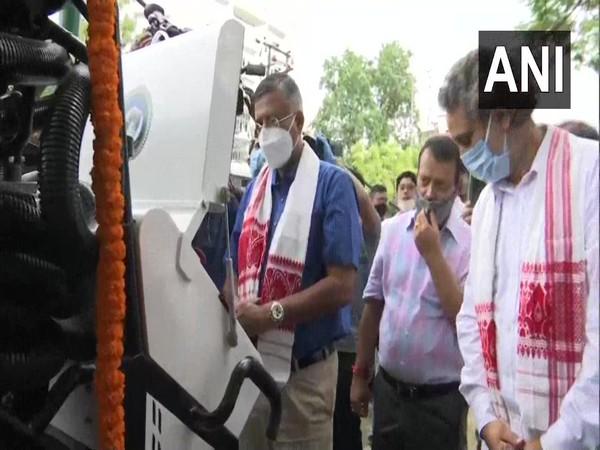 Guwahati Development Department (GDD) Minister Siddhartha Bhattacharya a manhole cleaning robot in Assam on Tuesday. Photo/ANI