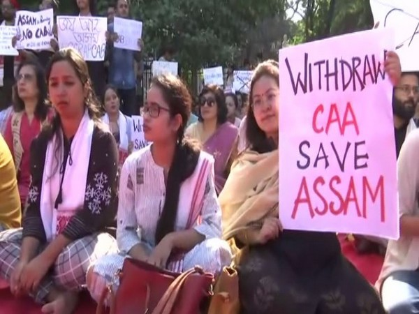 Assamese people gathered for a protest against CAA in Mumbai on Saturday. Photo/ANI