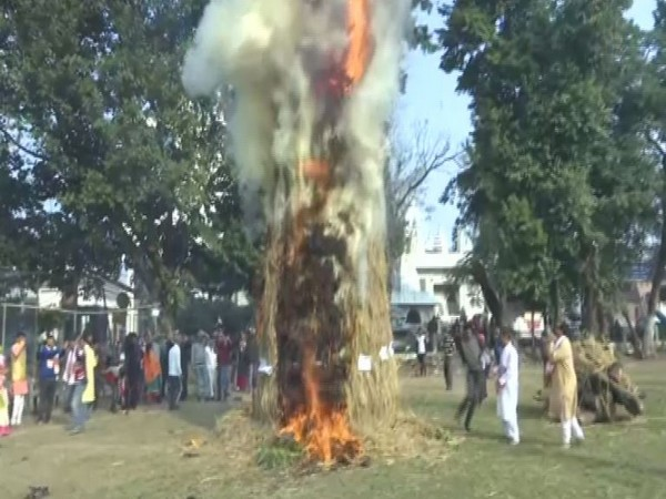 People gethered to celebrate Magh Bihu in Guwahati, Assam Photo/ANI