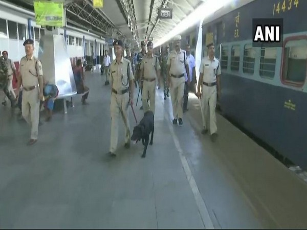 Security personnel at the railway stations in Guwahati on Wednesday (ANI)