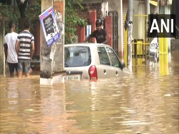 Water-logging in parts of Guwahati following heavy rainfall in the region. [Photo/ANI]
