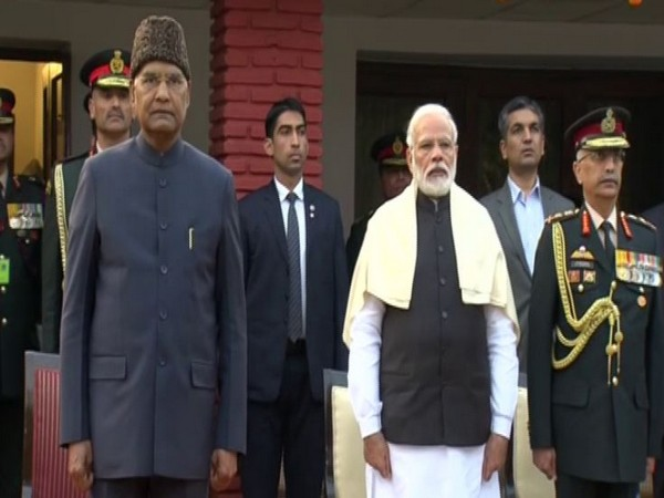 President Ram Nath Kovind and Prime Minister Narendra Modi at the At Home Reception at General Manoj Mukund Naravane's residence on the occasion of Army Day.