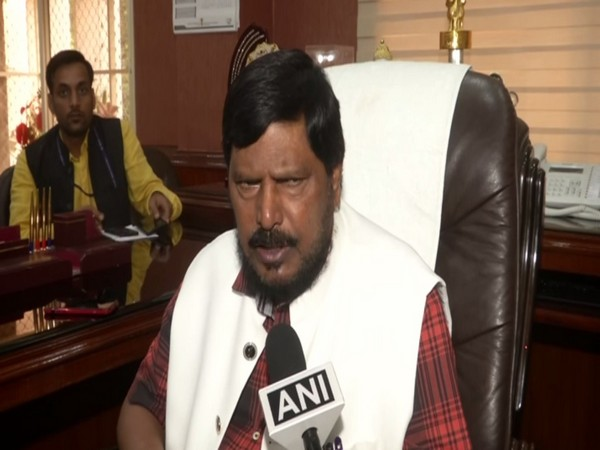 RPI Chief Ramdas Athawale talking to ANI in Mumbai on Tuesday. Photo/ANI