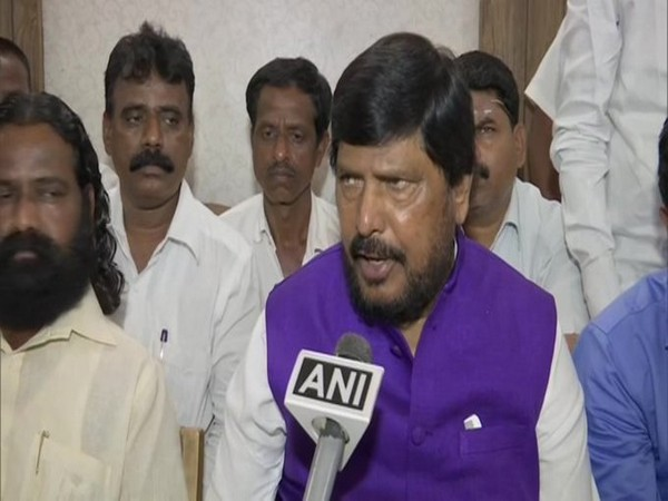 MoS Ministry of Social Justice and Empowerment Ramdas Athawale speaking to ANI in Kolhapur on Monday. Photo/ANI