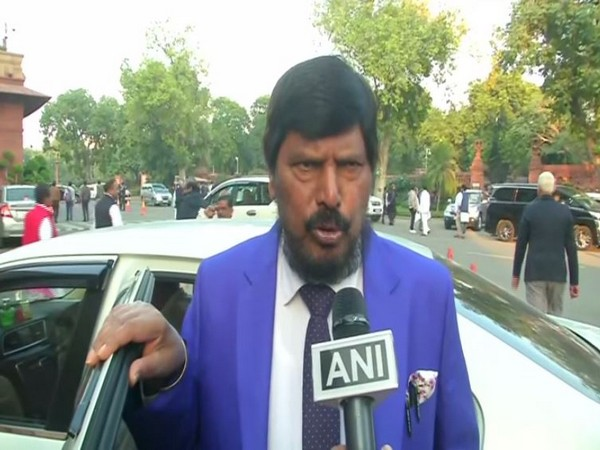 RPI leader Ramdas Athawale speaking to ANI in New Delhi on Tuesday. Photo/ANI
