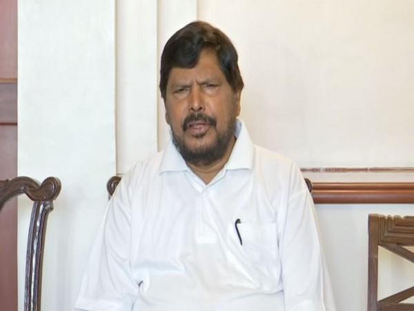 Union Minister Ramdas Athawale speaking to reporters in Mumbai on Saturday (Photo/ANI)